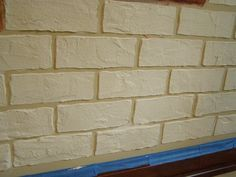 Made Brick Stencil Then Covered With Joint Compound Once Dry I Faux Painted Each Brick To Give A Realistic Look Diy Brick Wall Faux Brick Walls Faux Brick
