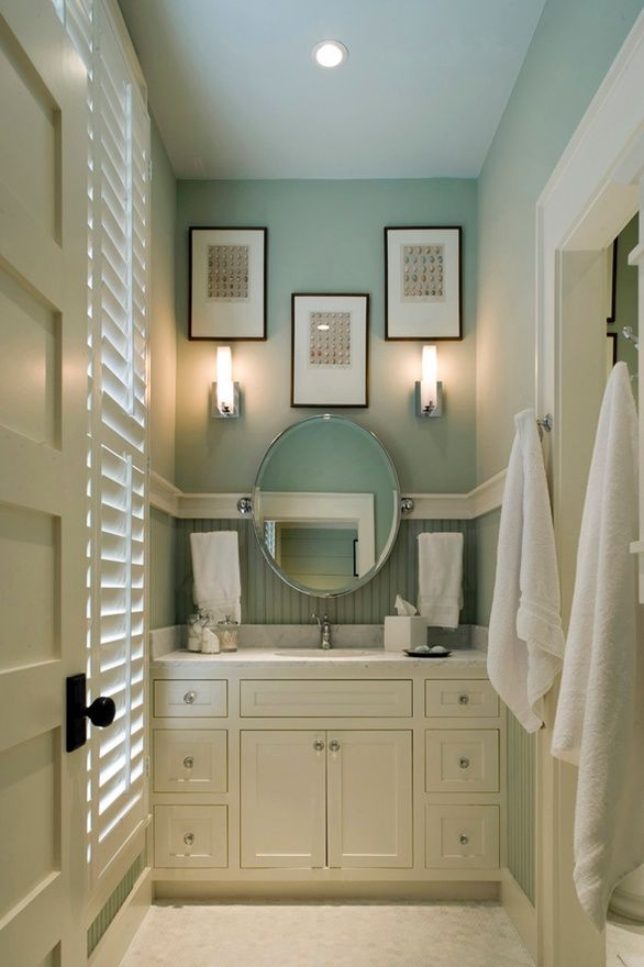 Beadboard backsplash love this blue bits pieces of - Beadboard small bathroom pictures ...