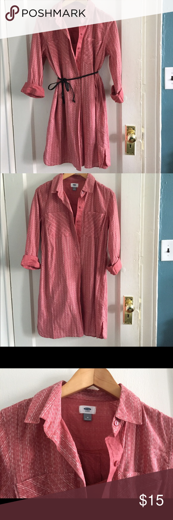 Old Navy Shirt Dress Never worn! Cute old navy red shirt dress. It comes with a pink liner underneath so you can wear it unbuttoned. Works as a dress with a cute belt (I will include the one in the picture of you want it), or can be worn as a tunic over legging. Perfect piece for fall.  ❤️Bundle any three items and save 20%❤️ Old Navy Dresses