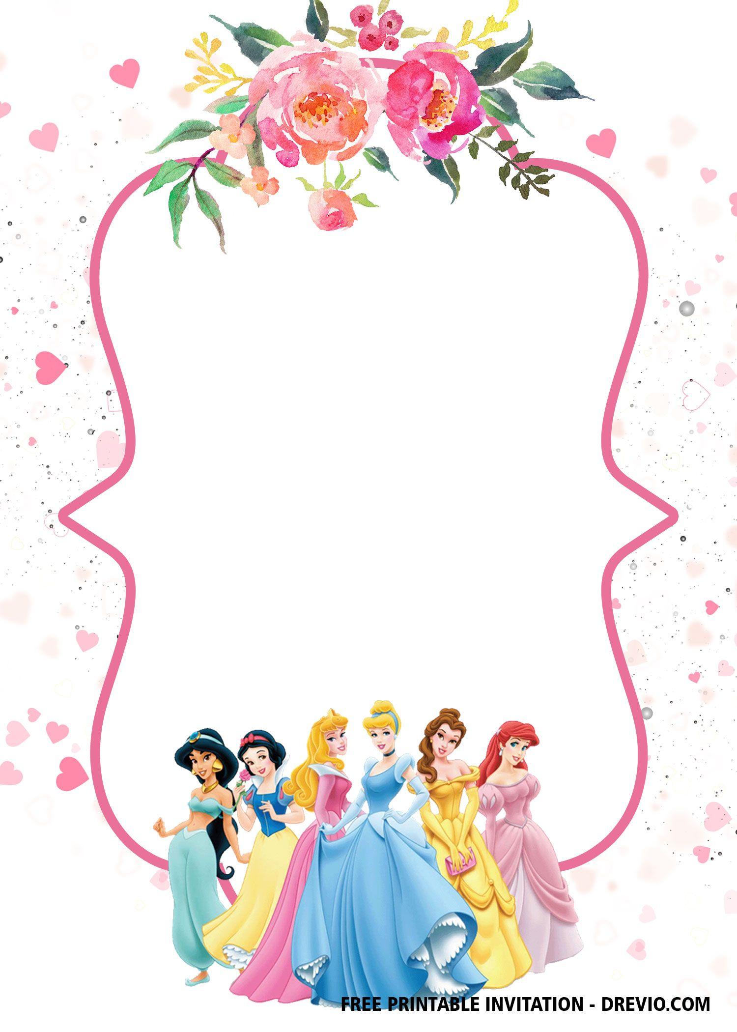 Free Disney Princess Invitation Template For Your Little Girl S Bi Princess Birthday Party Invitations Princess Birthday Invitations Princess Party Invitations