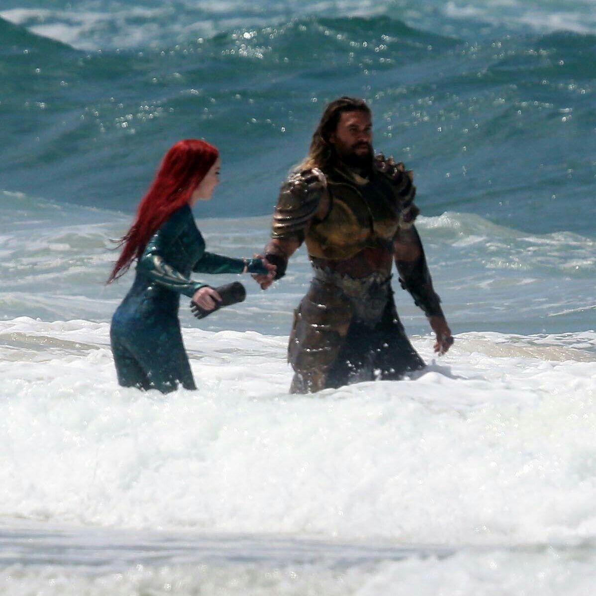 New Jason Momoa And Amber Heard Aquaman Image: Amber Heard And Jason Momoa As Mera & Aquaman Filming