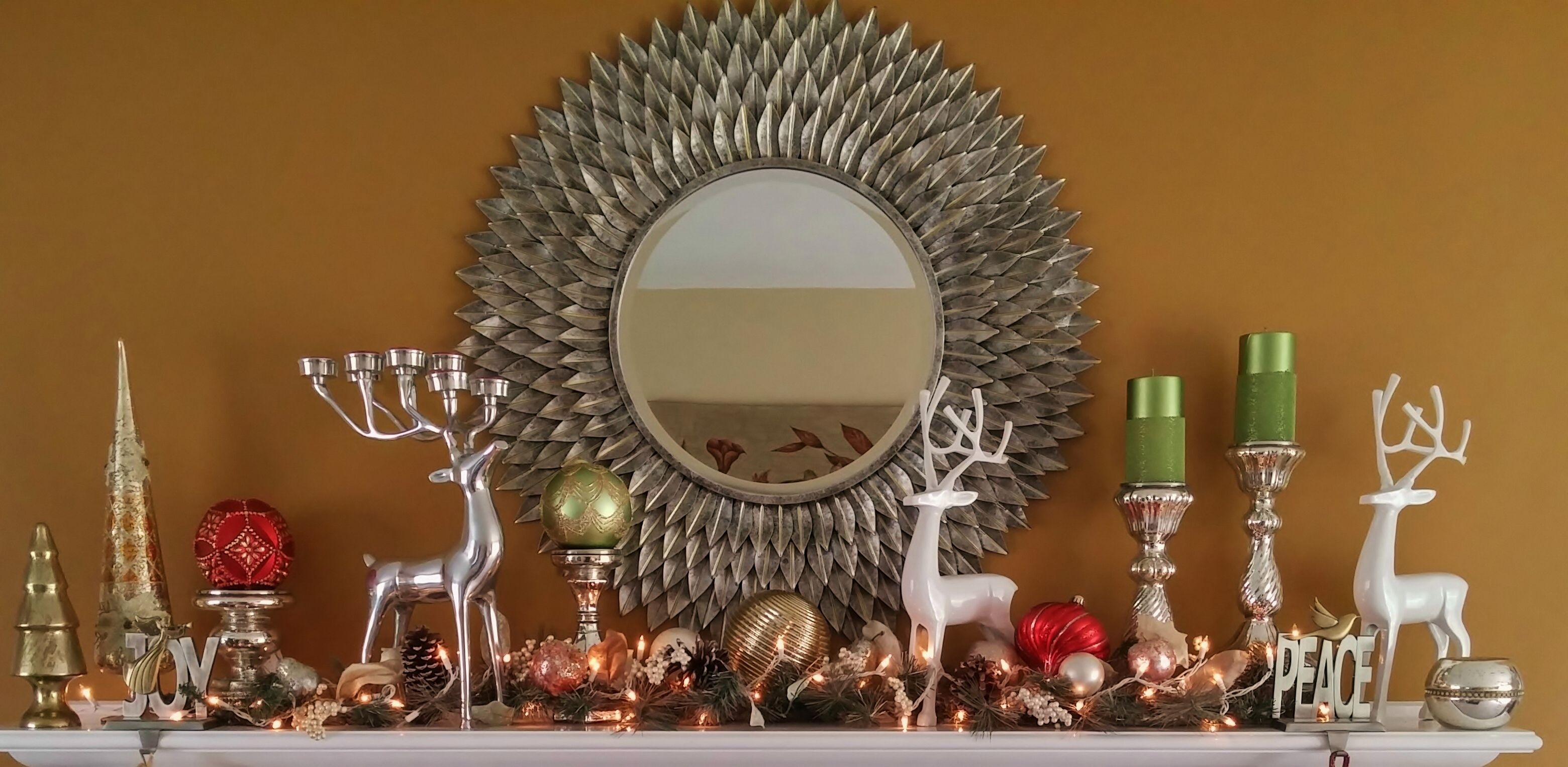 Our Christmas Mantel 2014 Reindeers Are From Home Goods &