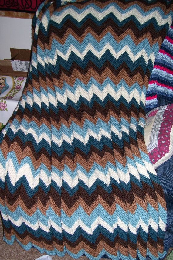 Soft crocheted ripple afghan in Turf colors