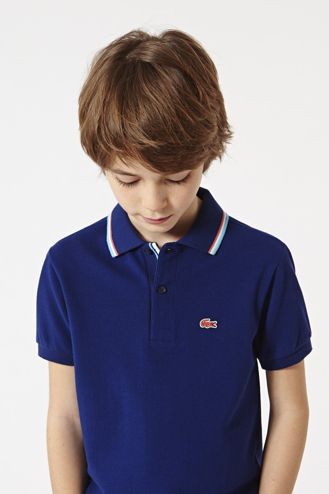 53d11fae7 Lacoste Boy s Short Sleeve Tri-color Tipped Collar Pique  Polo ...
