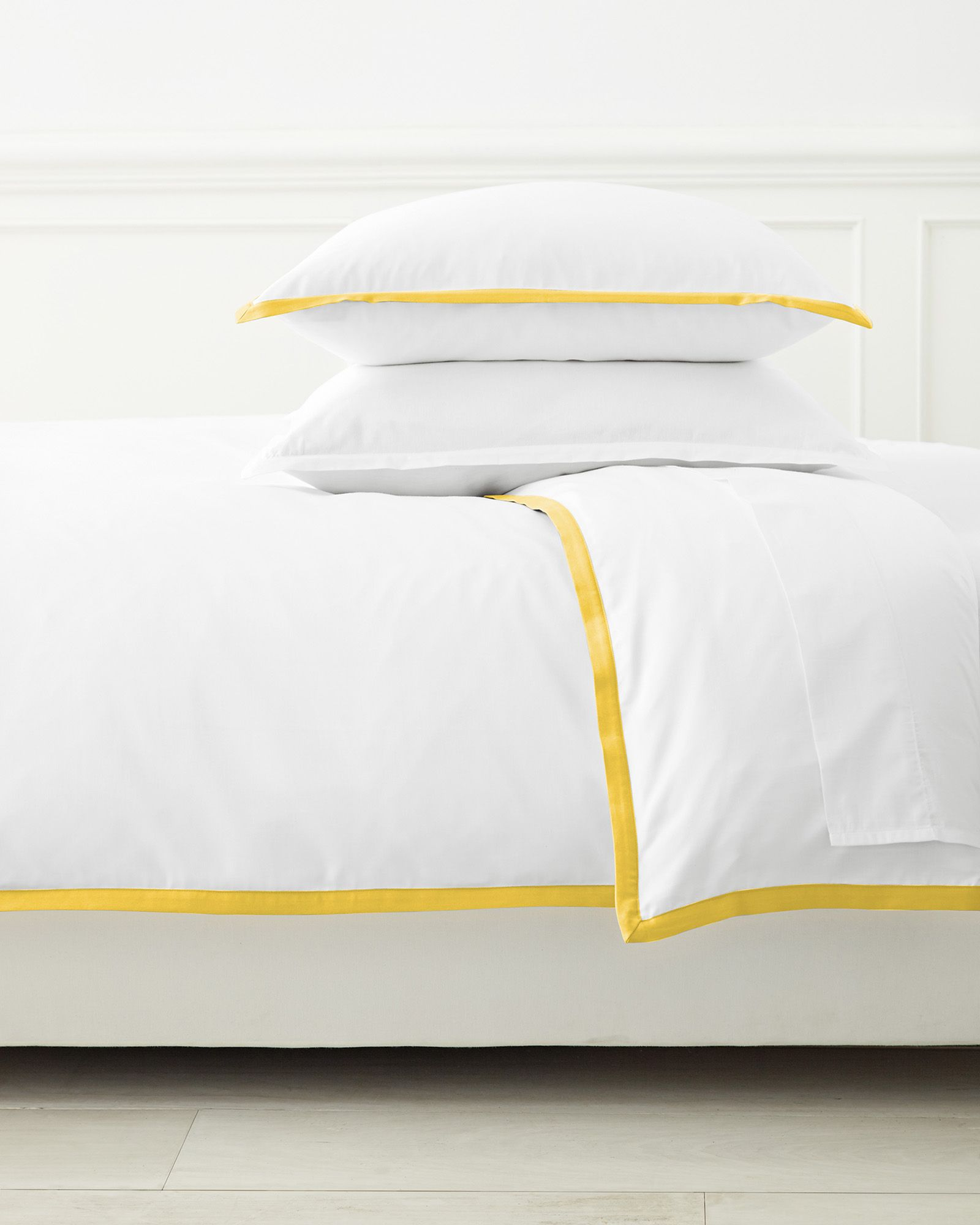 Classic White Duvet Cover with Yellow Border Trim - Serena   Lily ... 7540acaa6fb08
