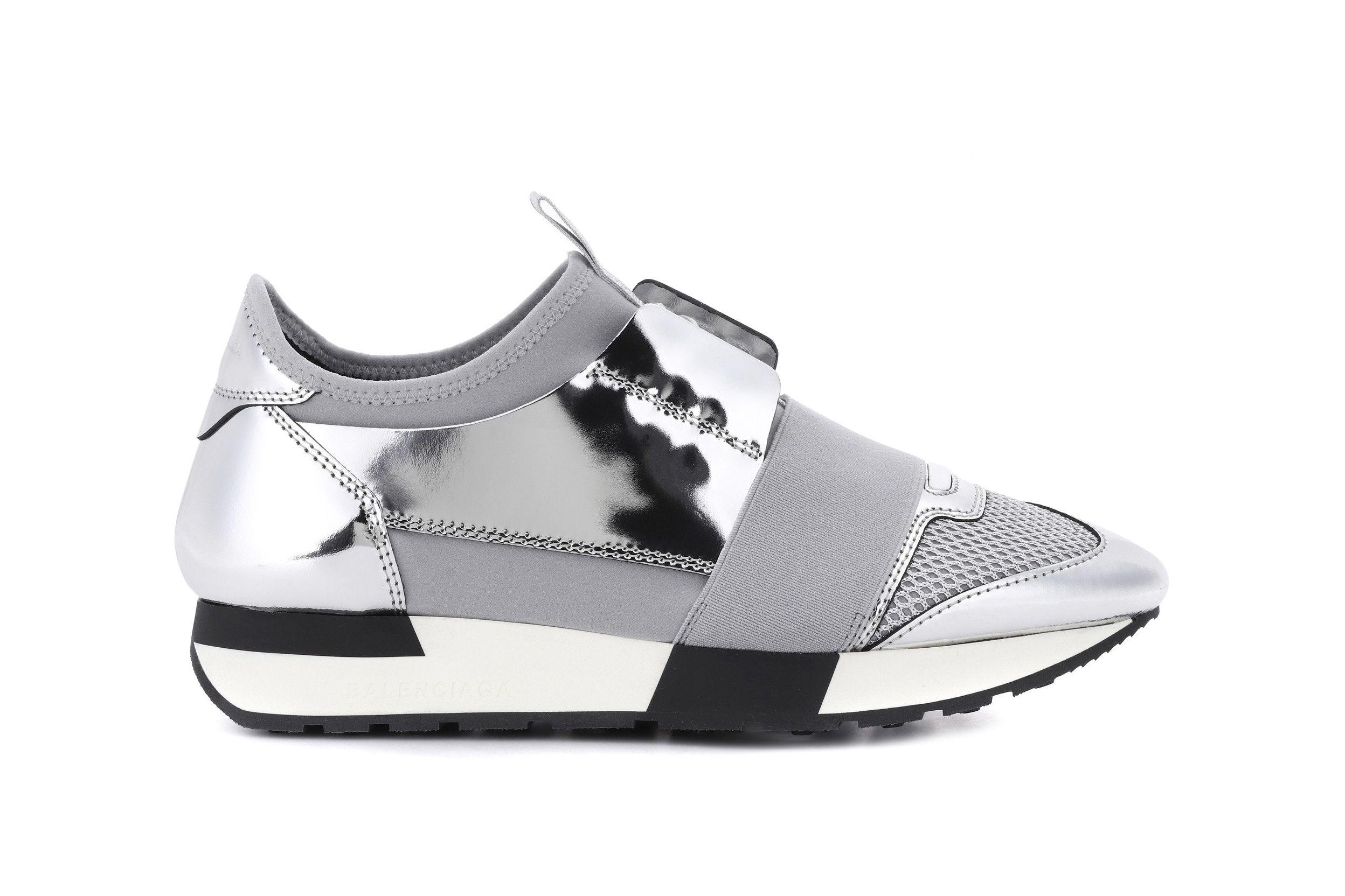 Balenciaga Silver Chrome Race Runner Sneaker Reflective Mirror Lace Up  Shoes Edgy Futuristic 898c828a88