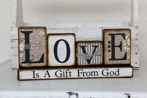 Decorative Love Word Blocks By Inhis2hands On Etsy 30 00
