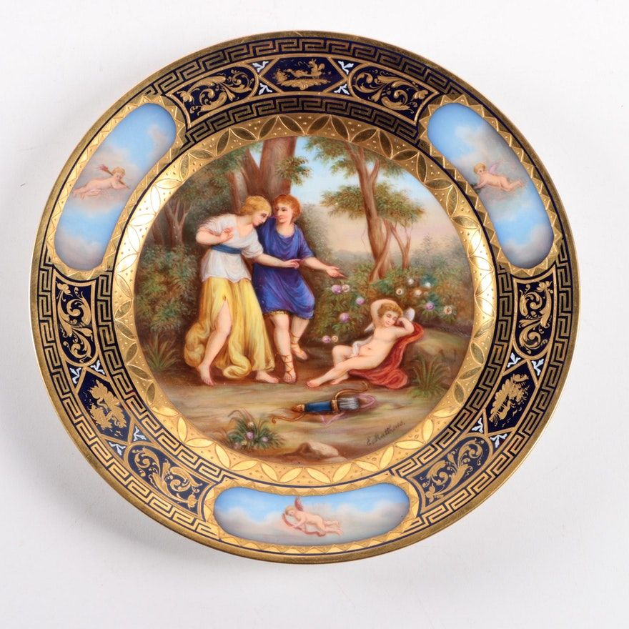 Signed Hand Painted Ackermann And Fritz Porcelain Cabinet Plate