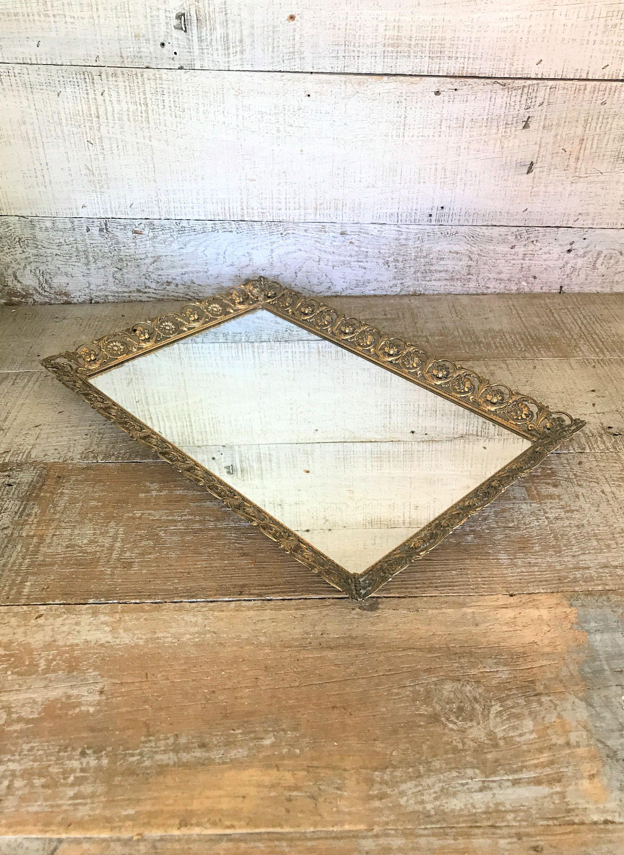 Vanity Mirror Large Tray Gold Rectangle Dresser Top Mid Century Decor Br Wedding