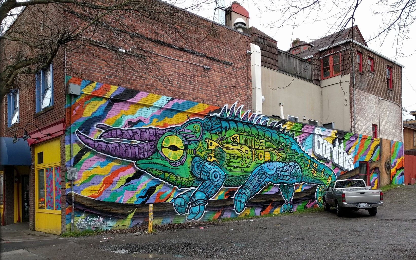 Mural by OASIS SKATEBOARD SHOP & Graves 33 at Gorditos in