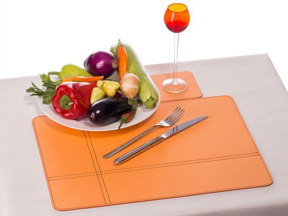 Orange Placemats Orange Table Mats Rectangular Placemats Etsy Decoracao Couro Mesa Posta Decoracao