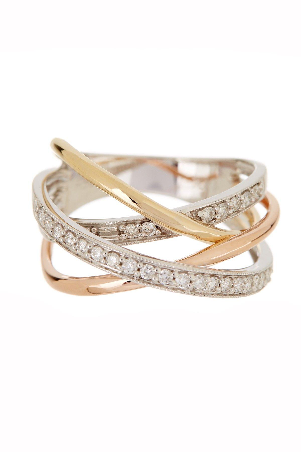 effy 14k gold tritone diamond ring