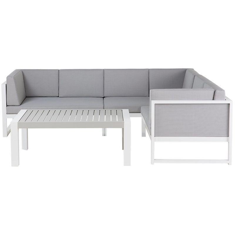 Salon De Jardin En Aluminium Blanc Et Gris Vinci Beliani Home