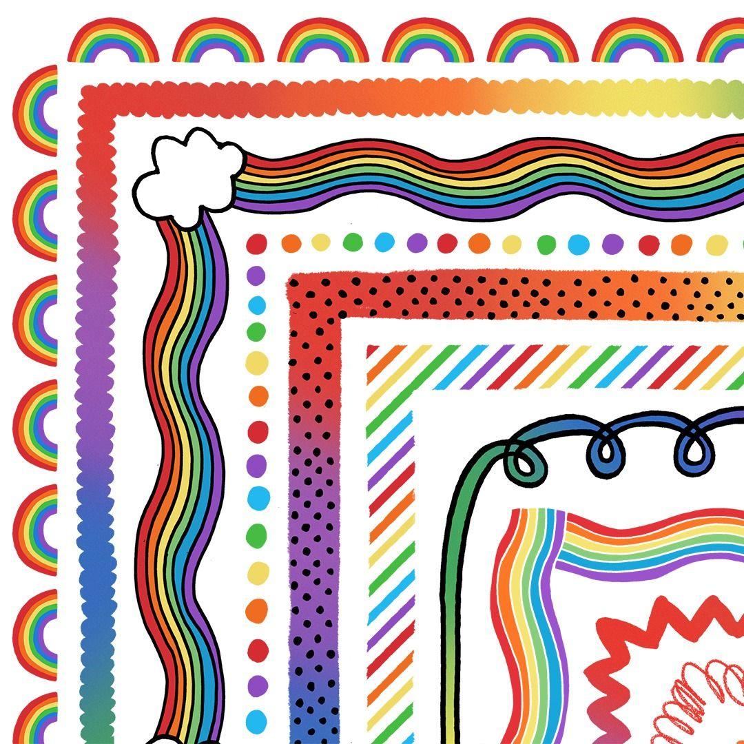 Rainbow Border Clipart Rainbow Clipart Rainbow Classroom Decor Clip Art Borders Rainbow Clipart Doodle Frame