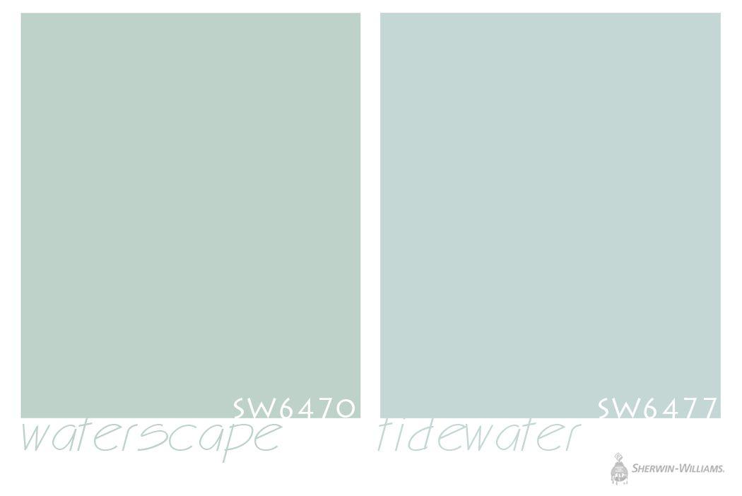 sherwin williams waterscape=more green; sherwin williams tidewater=more blue