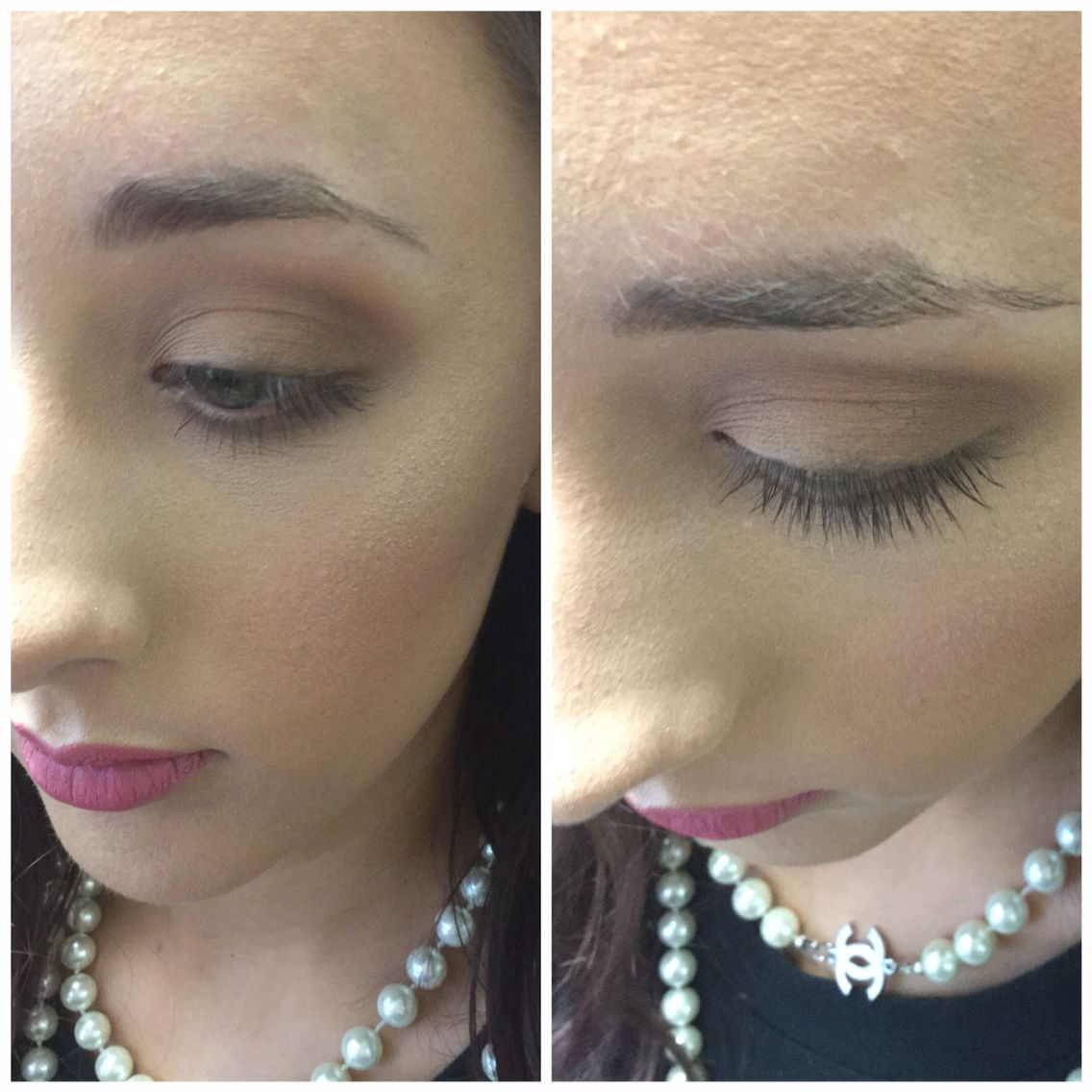 Before and after of a eyelash and eyebrow tinting. Used ...