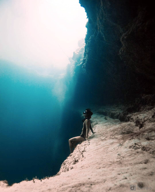 Beautiful Places Underwater: Sitting On An Undersea Ledge In The Bahamas