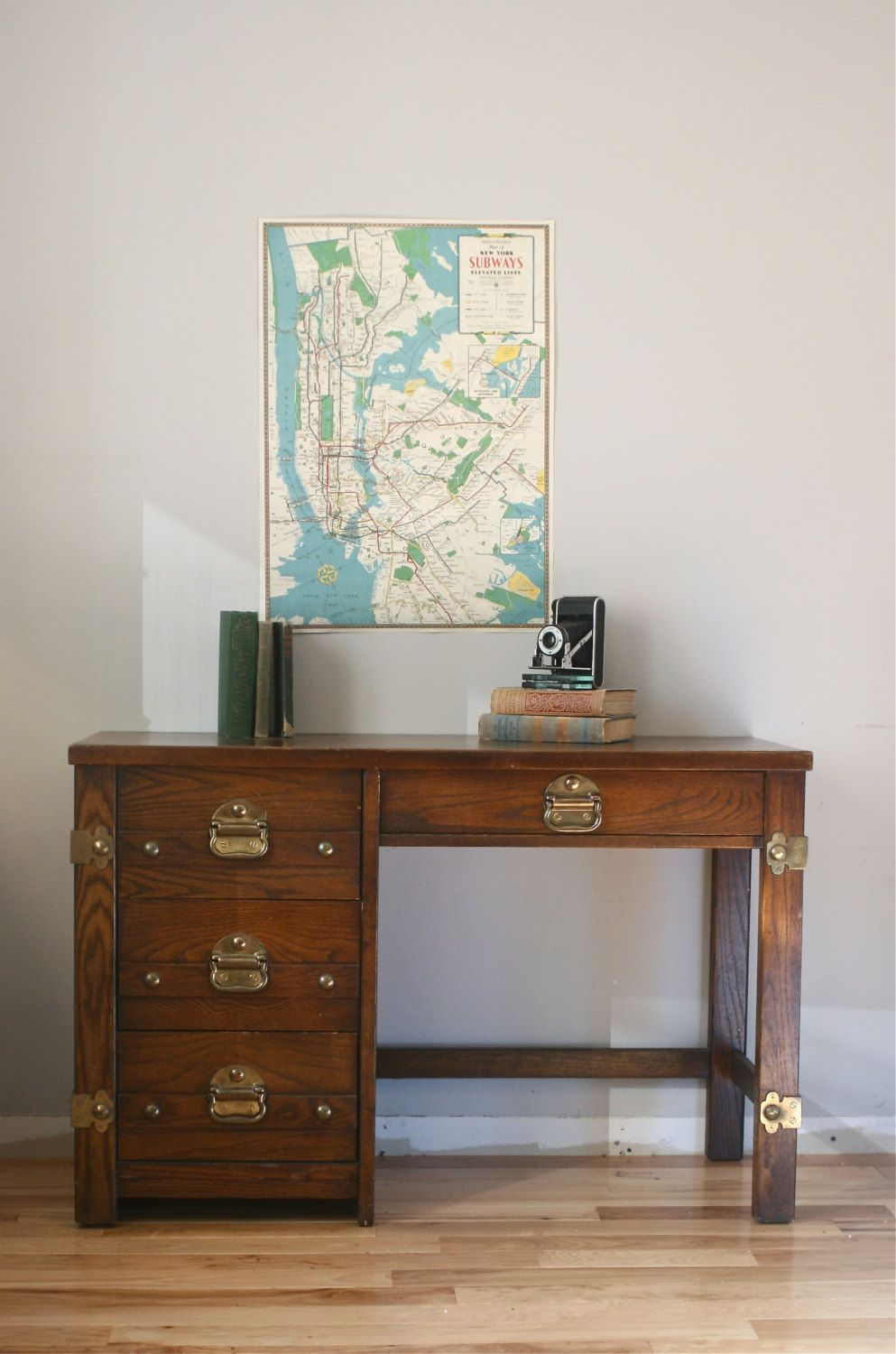 Vintage Nautical Desk With Br Accents By Exeterfields On Etsy