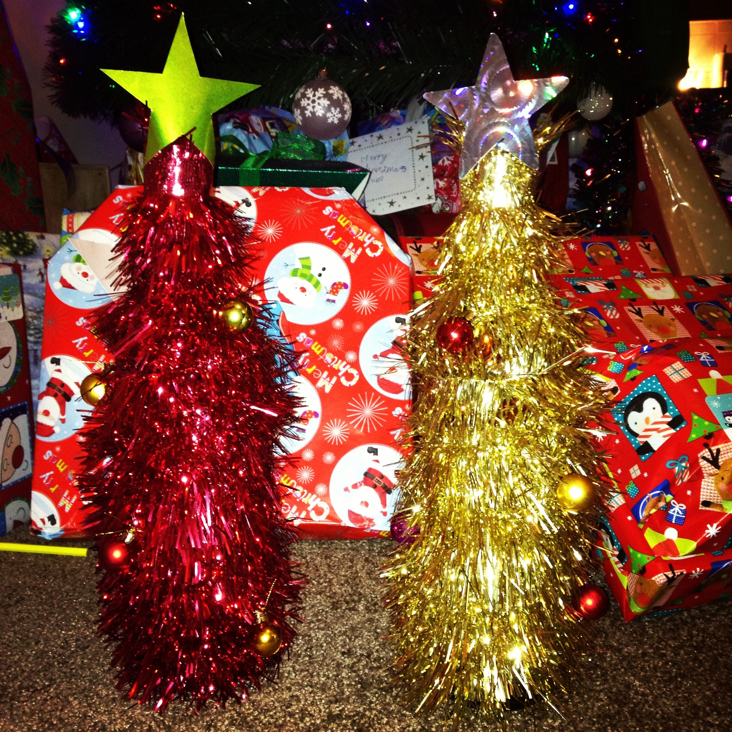 Tinsel wrapped wine bottles perfect for teachers t