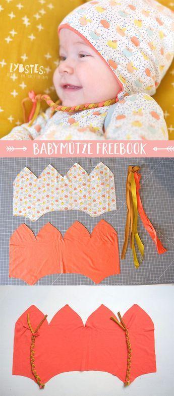 Freebook von Lybstes: Babymütze mit Ohrenschutz nähen, inkl ...