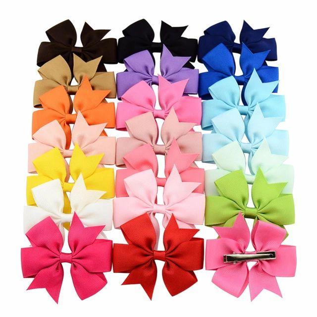 20Pcs Girls Hair Bows Elastic Hair Bands Knot Hairwear For Kids Hair Accessories