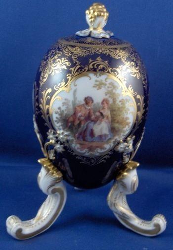 Rare Meissen Porcelain Watteau Scene & Cobalt & Gold Egg Vase Jar Porzellan Ei #MeissenGermanGermany
