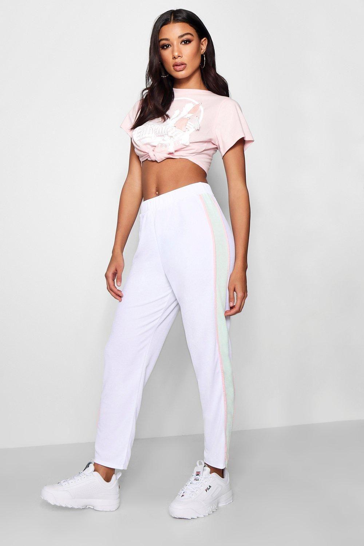 9caf8696374cb Zendaya Edit Contrast Side Crepe Slim Fit Trouser | Boohoo ...