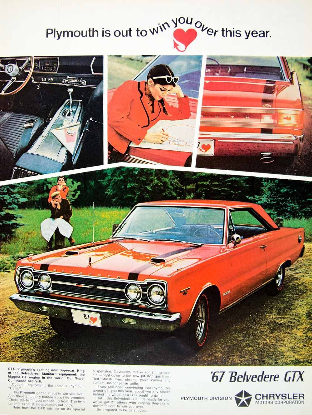 1966 Ad 1967 Chrysler Plymouth Belvedere Gtx Red Muscle Car Classic