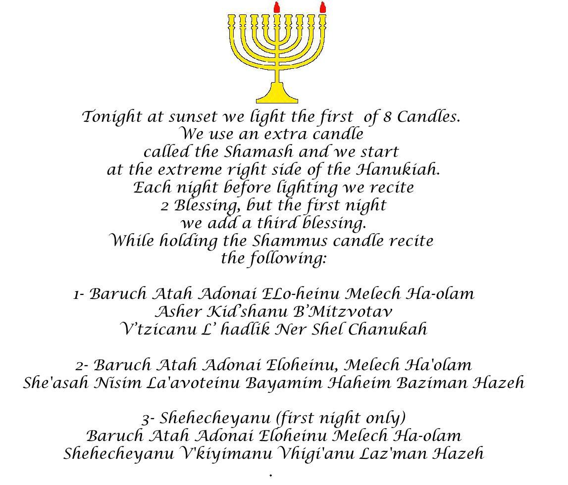 Hanukah Prayers First Night We Say 3 Blessings Happy
