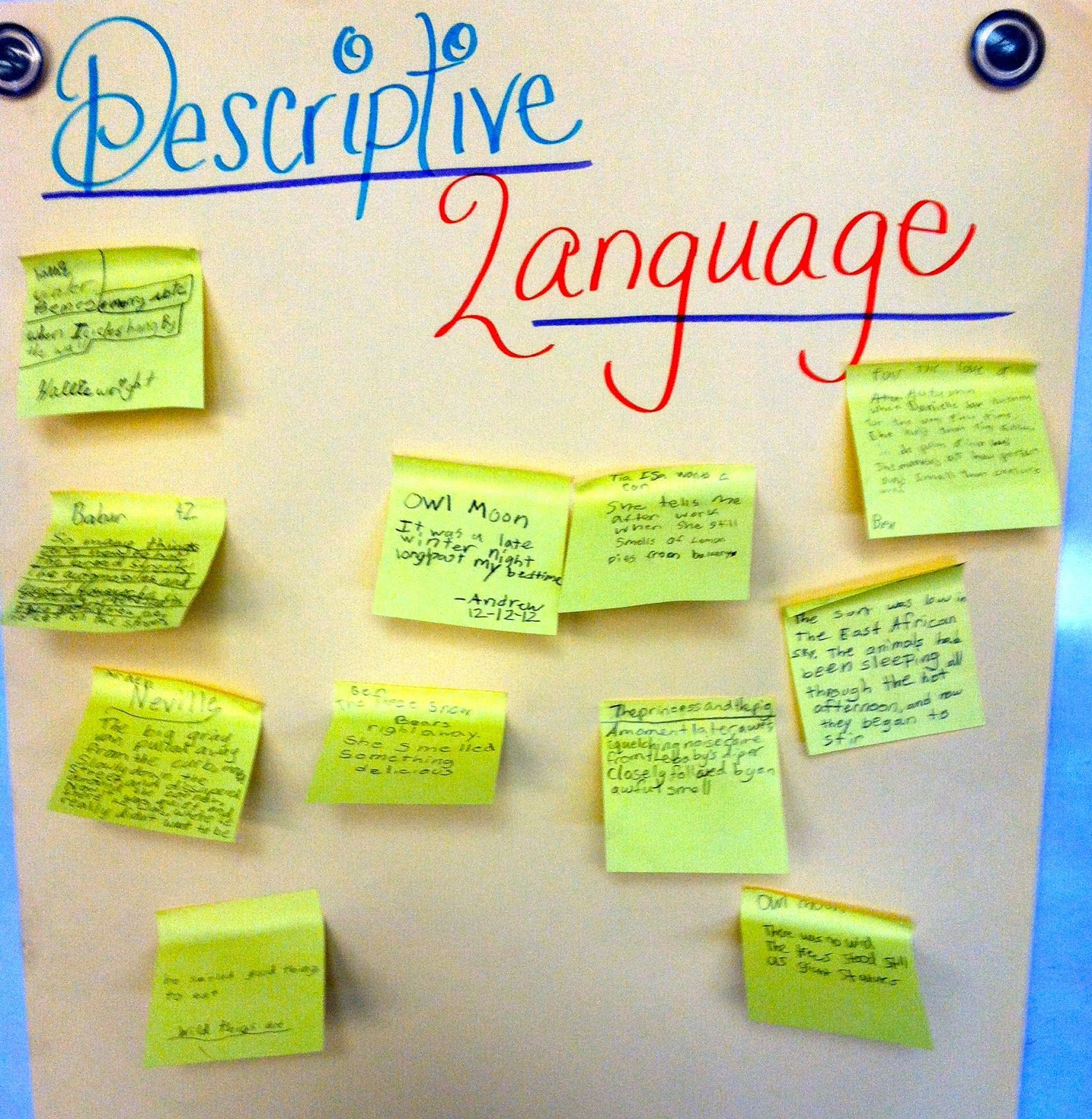 Resources To Teach Descriptive Language In Writing