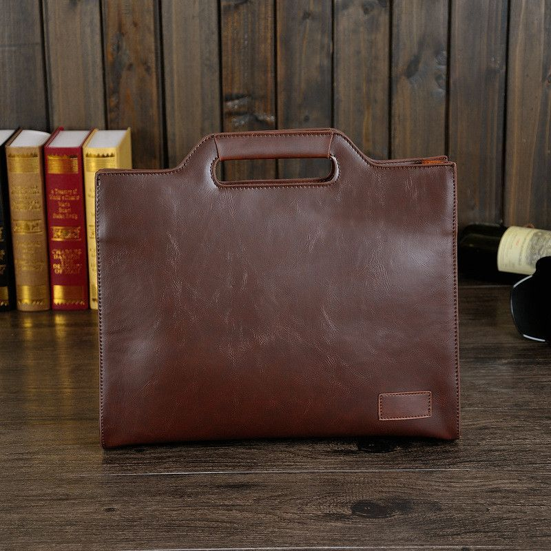 British Vintage Style Crazy Horse PU Leather Men Briefcase Bag Solid Office Men Business Bags New