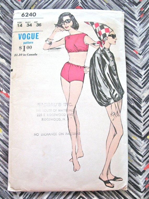 c09b9ea93f SALE 20% OFF Uncut Vogue 6240 Vintage 1960s Mod Swimsuit Bathing Suit Jacket  Sewing Pattern Bust 34