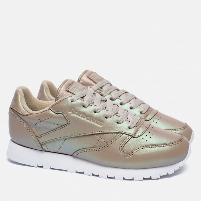Женские кроссовки Reebok Classic Leather Pearlized Champagne/White · Classic  LeatherChampagneSneakers
