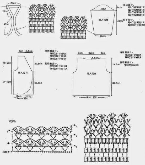 Bolero tejido al crochet con diagramas y patrones | crochet ...