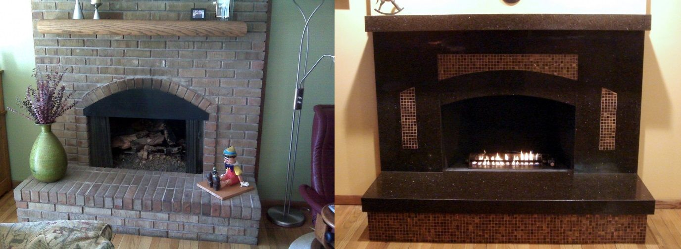 Before And After A Granite Transformations Fireplace Restoration Fireplace Remodel
