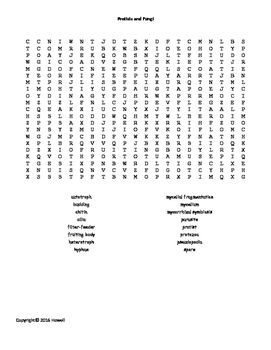protists and fungi word search for middle school science 16 the o 39 jays and life science. Black Bedroom Furniture Sets. Home Design Ideas