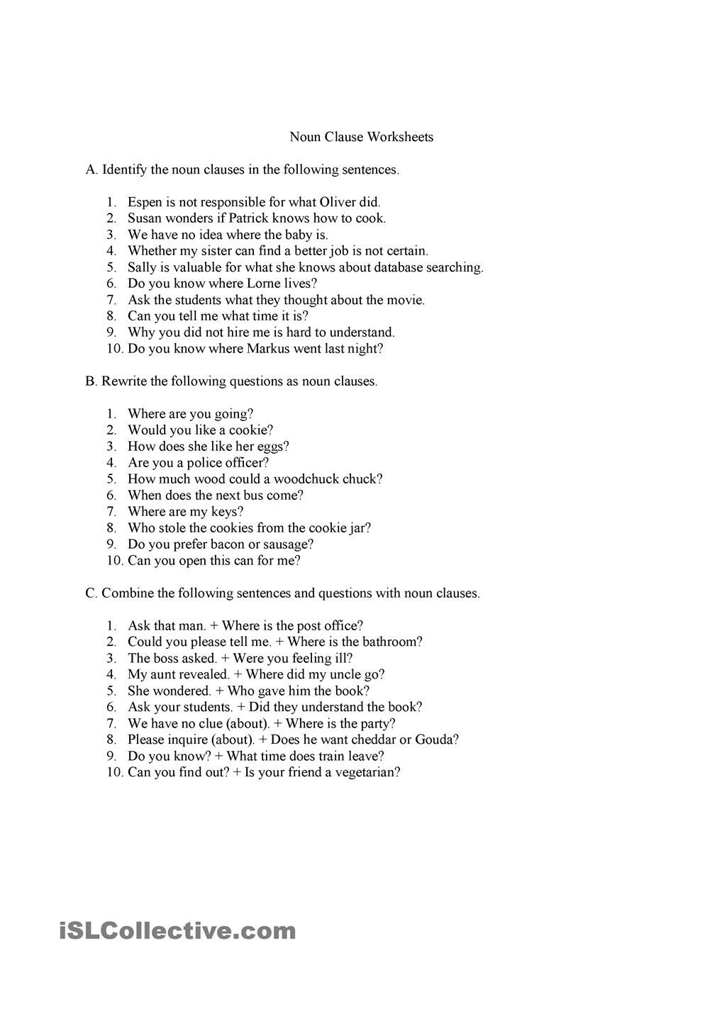 Noun Clauses Questions And Answers Relative Clauses Pinterest