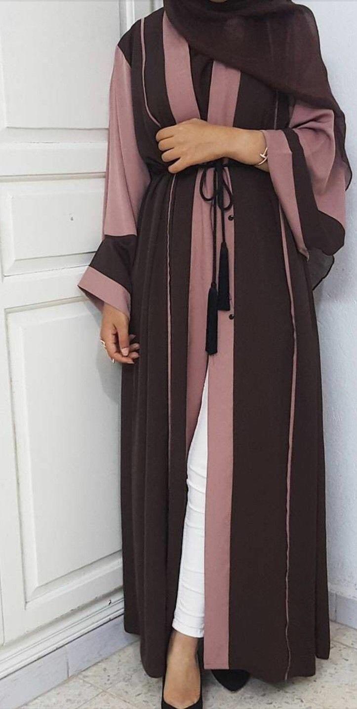 4b35867ec5f5 1 of 1: Open Abaya Dusty Rose And Chocolate - Dubai Eid Jilbab Hijab Maxi  Dress Kaftan