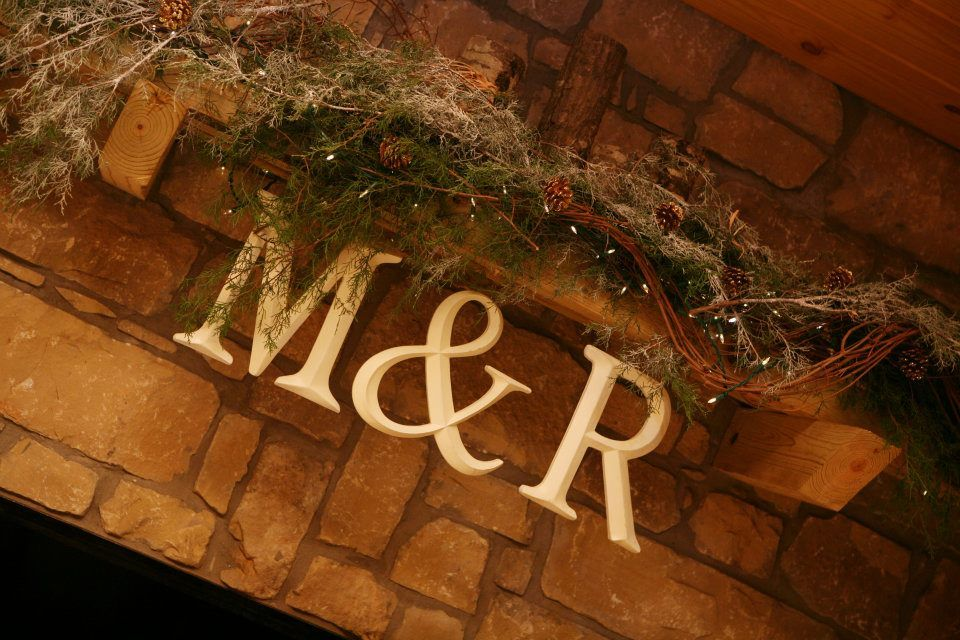 Fire place decor with Bride and Groom initials hanging at wedding reception