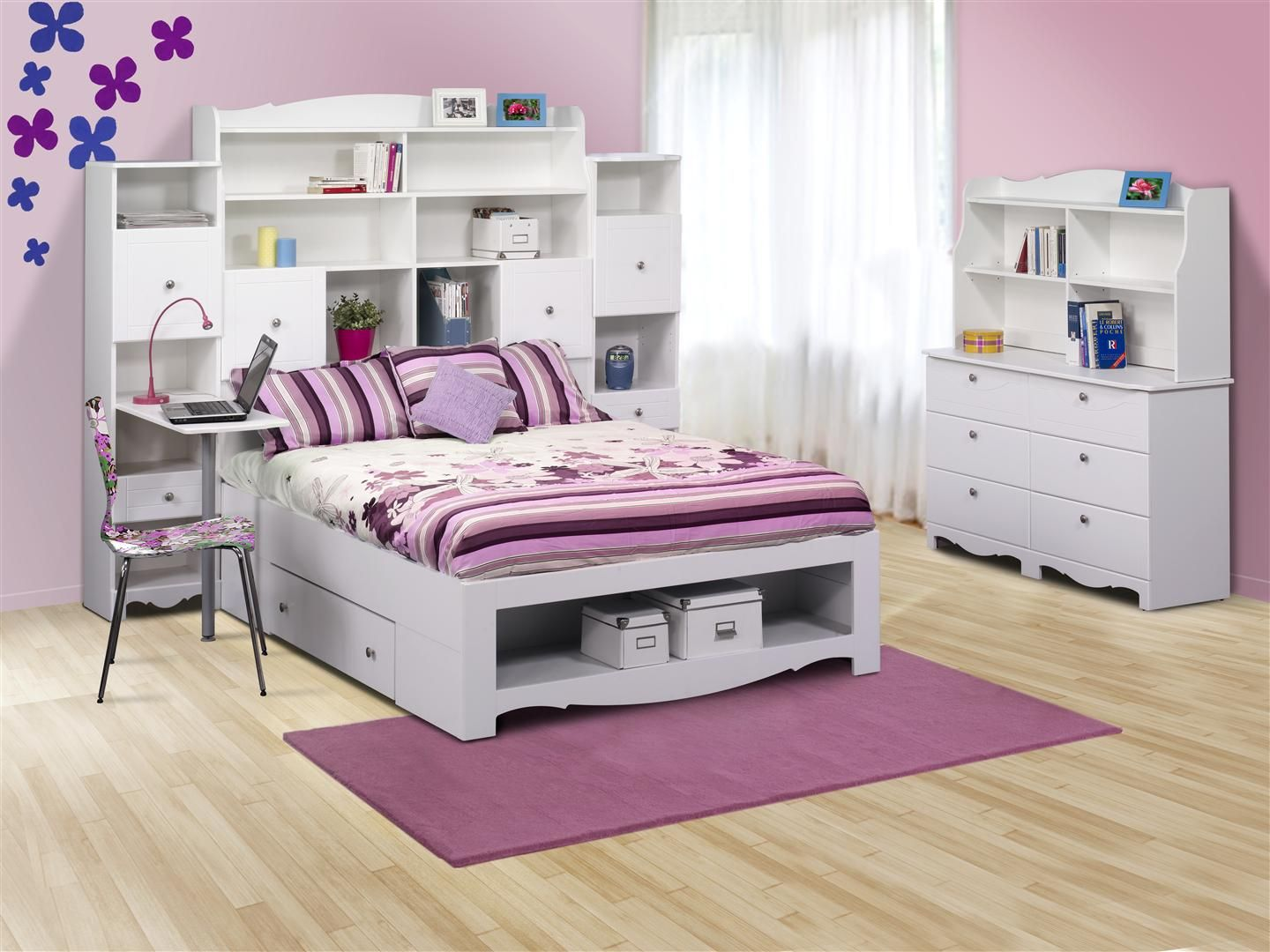 Pretty Bedroom For Girls With Wooden Floor And White