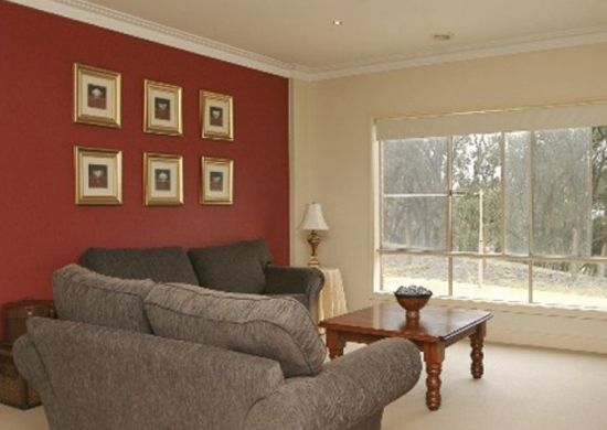 Red Accent Wall accent wall in the living room! i'm thinking hunter green instead
