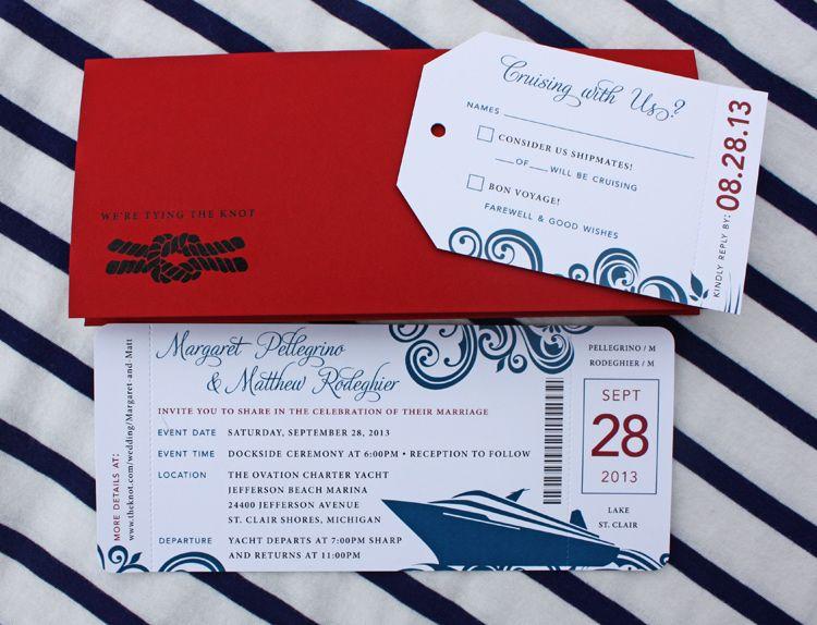 Cruise Wedding Invitations: Red & Blue Swirl Yacht Cruise Boarding Pass Wedding