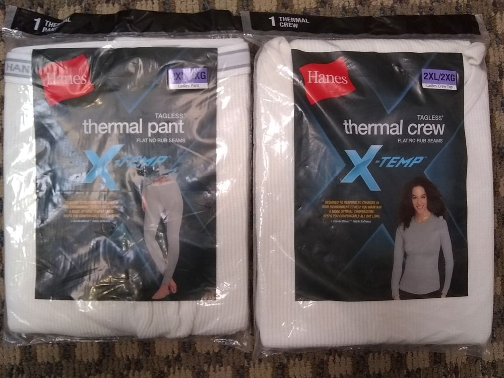 bd715652919 Hanes Women s Thermal Pants Crew Top Set Plus Size 2XL Long Sleeve Shirt  Tagless  Hanes  Thermal  Casual