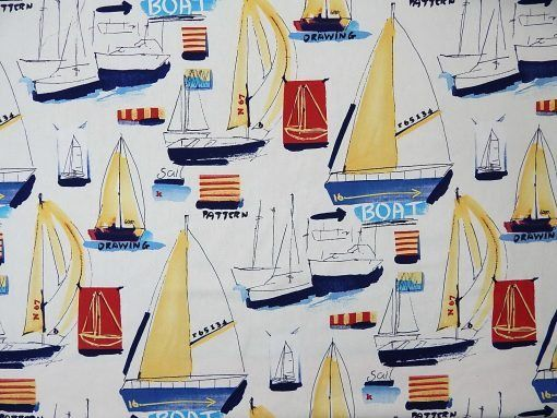 Yachts and Anchors Sailboats Nautical Cotton Fabric by the Yard