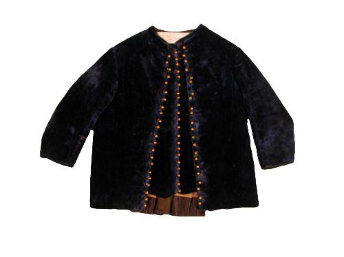 1870 Boy's Jacket Culture: American Medium: velvet, satin, cambric, brass