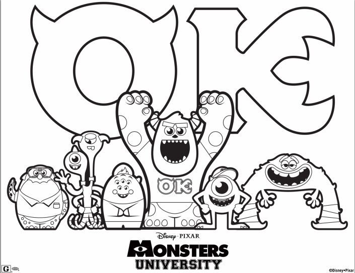 Free Disney Pixar Monsters University Printable Coloring Sheet