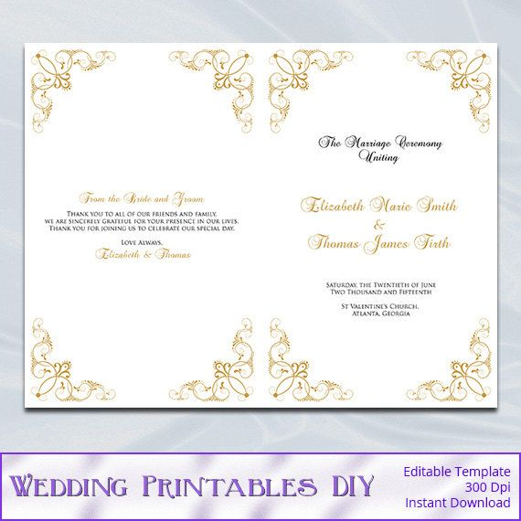 gold wedding program template diy printable ceremony half fold programs templates editable text instant download word pdf p62