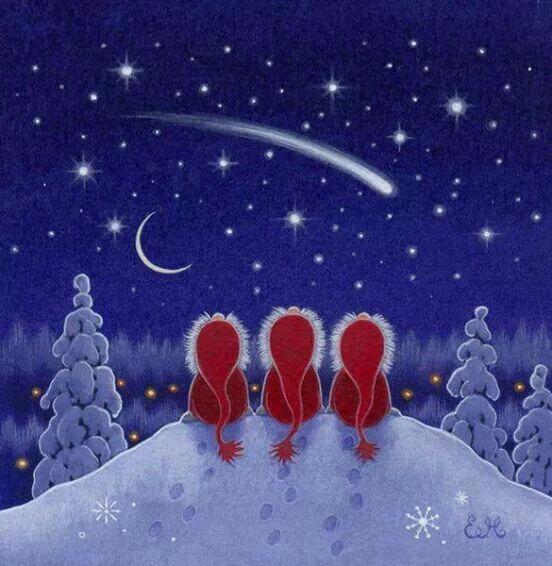 Stella Cadente Di Natale.Stella Cadente Pittura Natalizia Illustrazione Di Natale Biglietti Di Natale