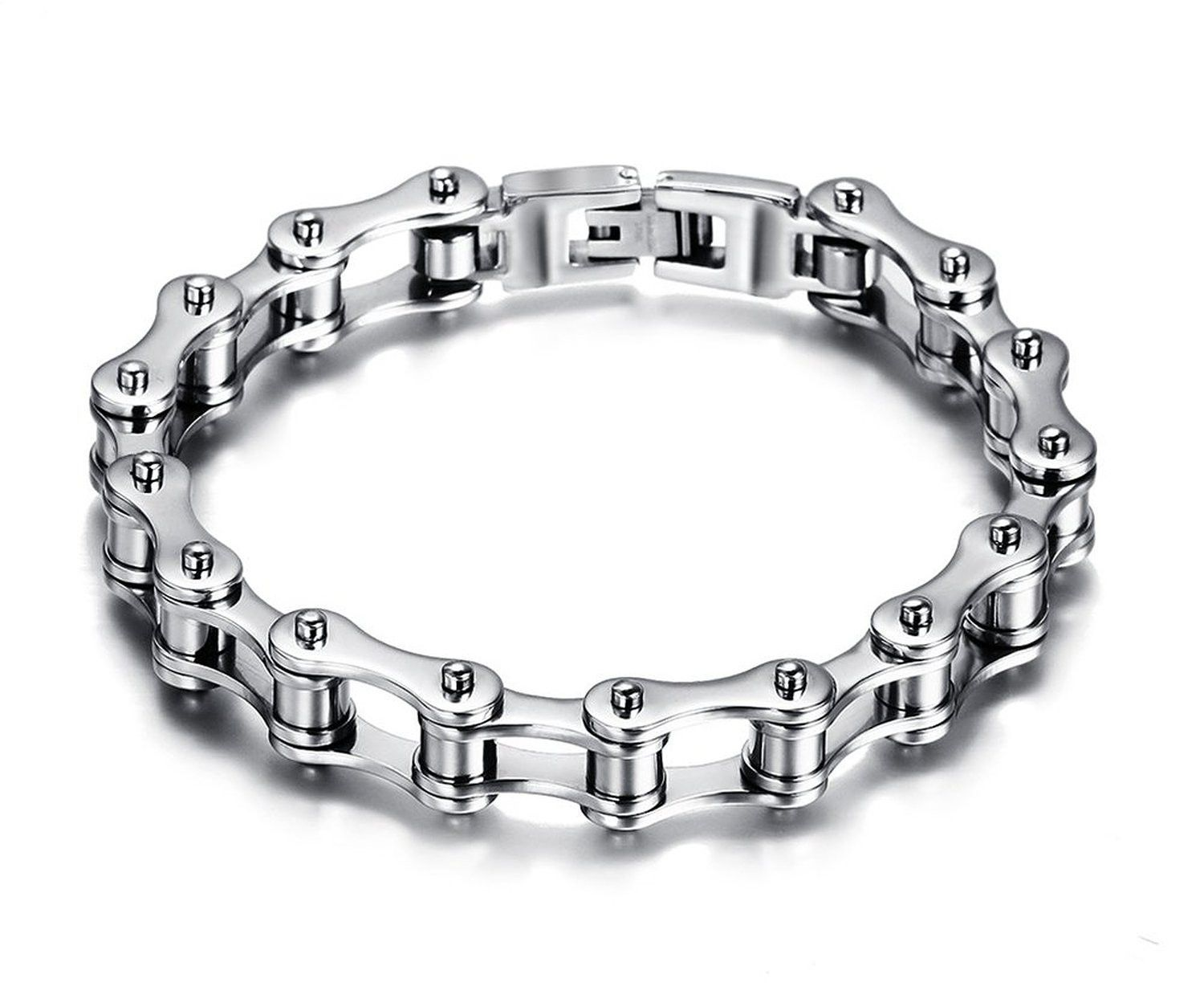 Mens stainless steel bike chain bracelet high polished with free