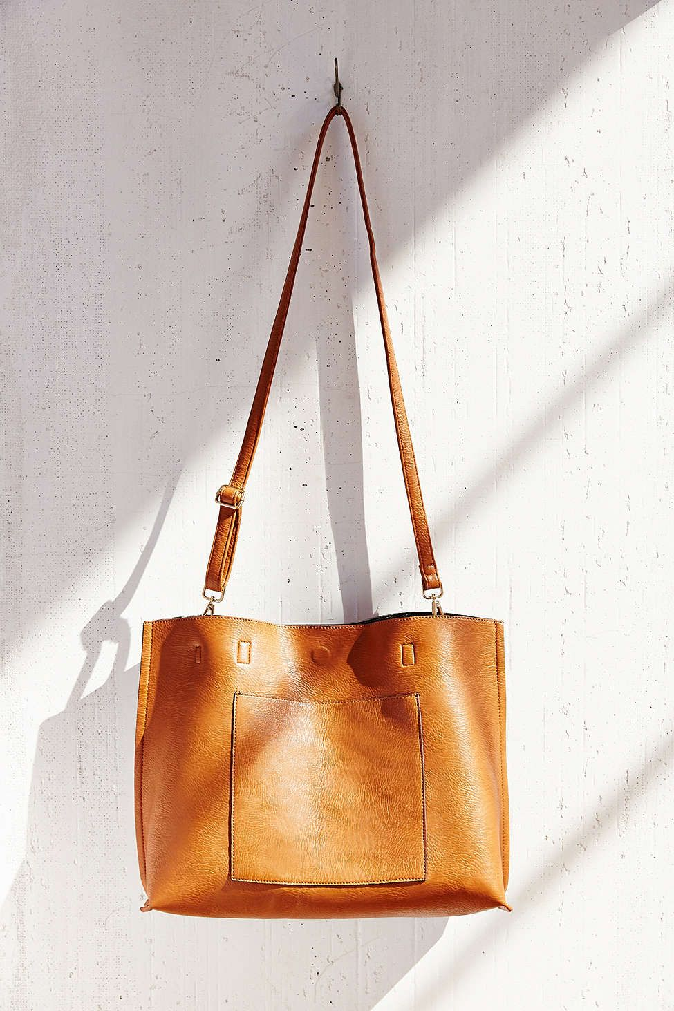 Reversible Vegan Leather Tote Bag